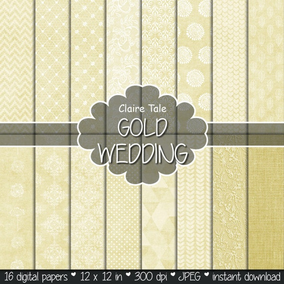 """Gold digital paper: """"GOLD WEDDING"""" with gold damask, lace, quatrefoil, flowers, hearts, polka dots, triangles, stripes, linen"""