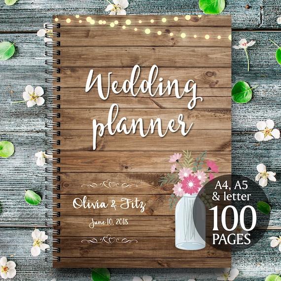 Printable wedding planner, Mason jar wedding planner,  Wood wedding planner, Rustic wedding planner, Wood wedding binder, Wood wedding PDF