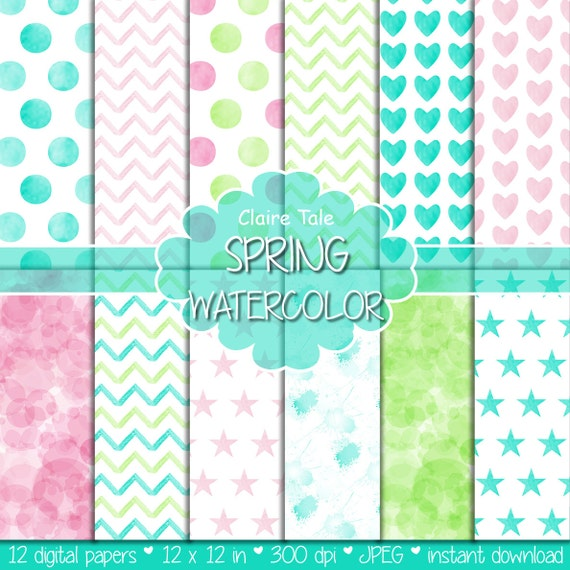 Pastel watercolour background, watercolor digital paper, pink and green watercolor, pastel textures, printable watercolor, pastel spring