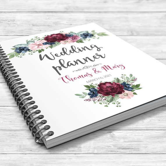 Burgundy blue wedding planner, Floral wedding planner, Bridal shower gift, Boho wedding planner, Fall wedding planner, Blue burgundy book
