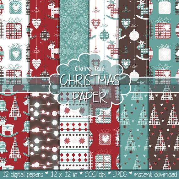 "Christmas digital paper: ""CHRISTMAS PAPER"" christmas backgrounds with deers, snowflakes, christmas trees, lights, gifts, balls, damask"
