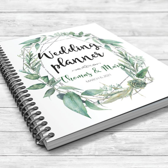 Succulent geometric binder, Greenery wedding planning book, Succulents greenery wedding planner, Bridal shower gift, Winter wedding planner