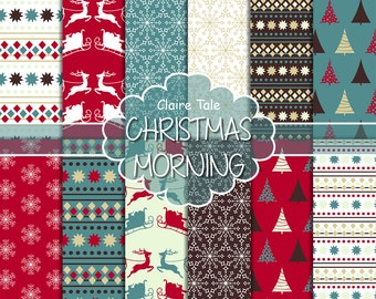 """Christmas digital paper: Christmas paper """"CHRISTMAS MORNING"""" backgrounds with deers, santa, snowflakes, christmas trees"""
