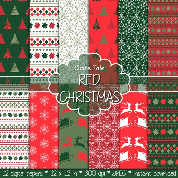 """Christmas digital paper: Christmas paper """"CHRISTMAS IN RED"""" backgrounds with deers, santa, snowflakes, christmas trees"""
