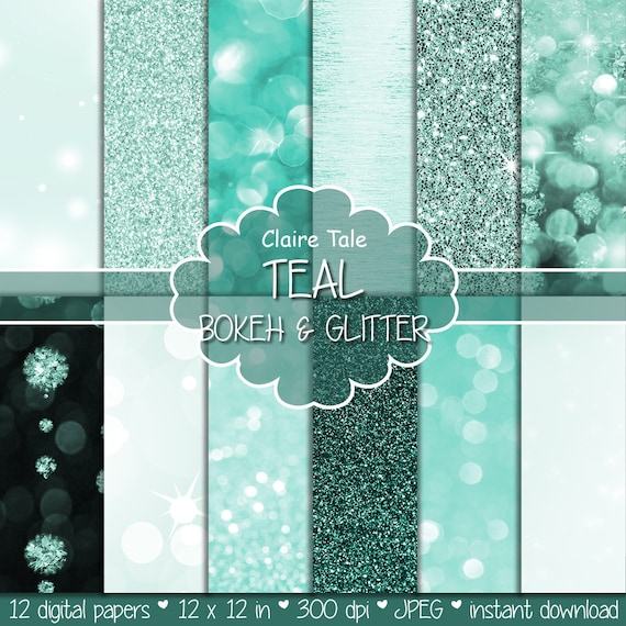 "Teal digital paper: ""TEAL BOKEH & GLITTER"" with teal glitter background and teal bokeh background for photographers and scrapbooking"