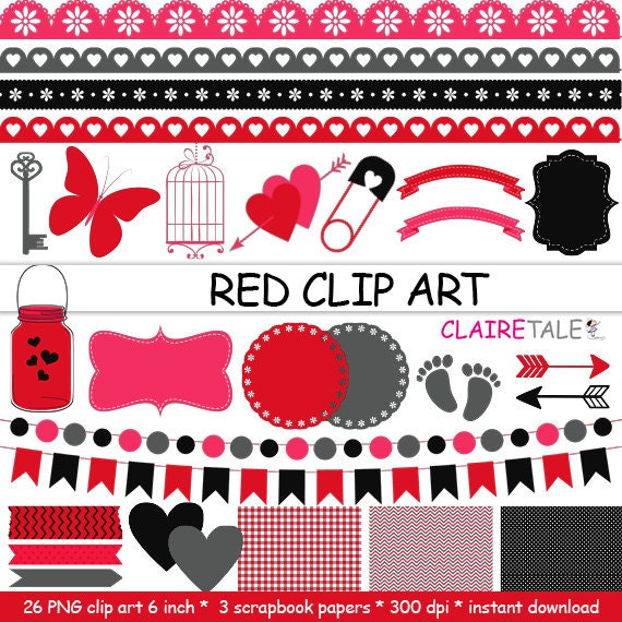 """Digital """"RED CLIP ART"""" frames, labels, ribbons, borders, flags, arrows, butterfly, lights, hearts, mason jar, key, bird cage, baby shower"""