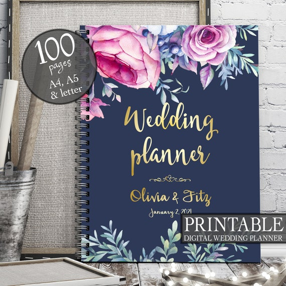 Printable wedding planner, Pink navy wedding planner, Boho wedding planner, Wedding binder, Wedding organiser, Wedding checklist