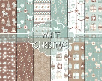 "Christmas digital paper: ""WHITE CHRISTMAS"" christmas backgrounds with deers, snowflakes, christmas trees, lights, gifts, balls, damask"