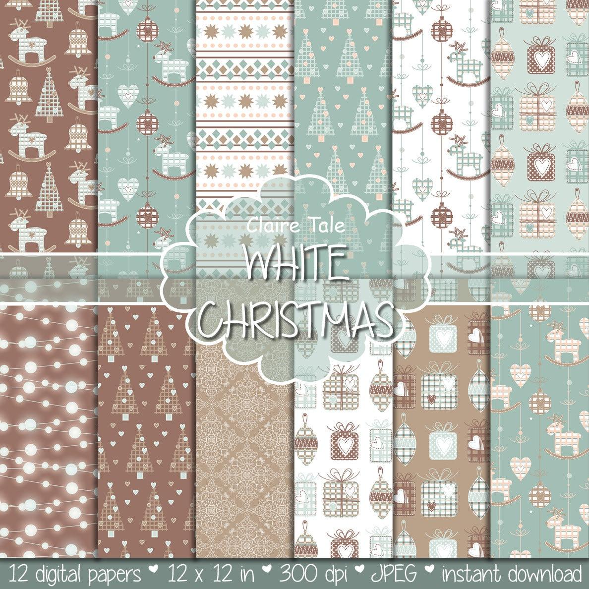 Christmas digital paper: WHITE CHRISTMAS christmas