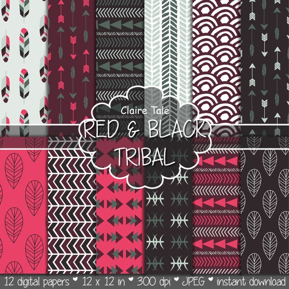 "Tribal digital paper: ""RED & BLACK TRIBAL"" with tribal patterns and tribal backgrounds, arrows, feathers, leaves, chevrons in red and black"