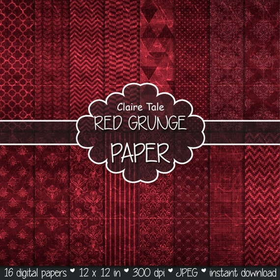 "Red digital paper: ""RED GRUNGE PAPER"" with chevrons, crosshatch, stripes, damask, polka dots / red vintage paper / red shabby chic"