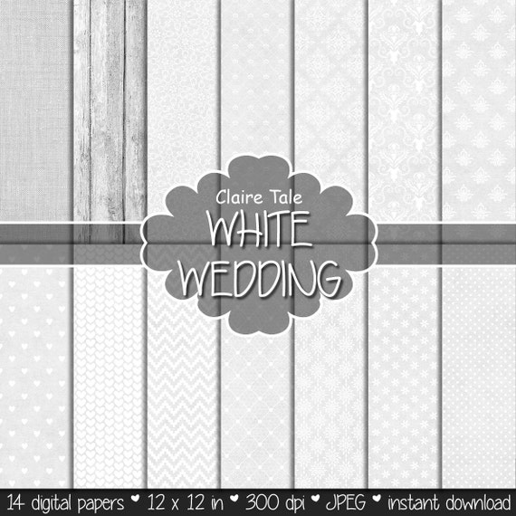 """Wedding digital paper: """"WHITE WEDDING PAPER"""" with damask, flowers, lace, polka dots, hearts, chevrons, wood, linen"""