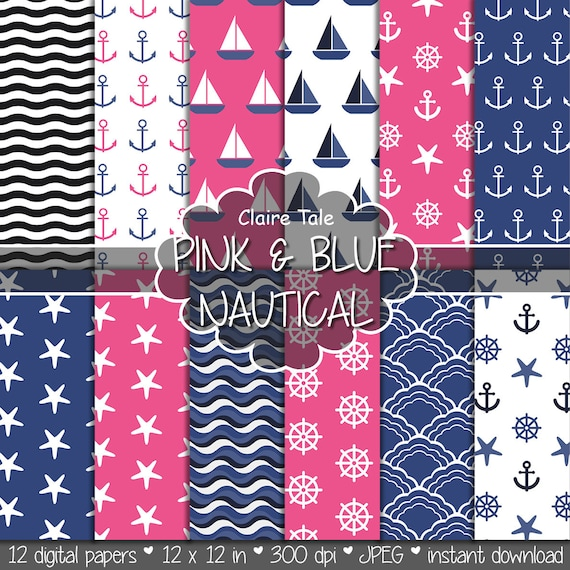"Nautical digital paper: ""PINK & BLUE NAUTICAL"" patterns with anchors, wheels, starfish, boats, waves, stripes in pink and blue"