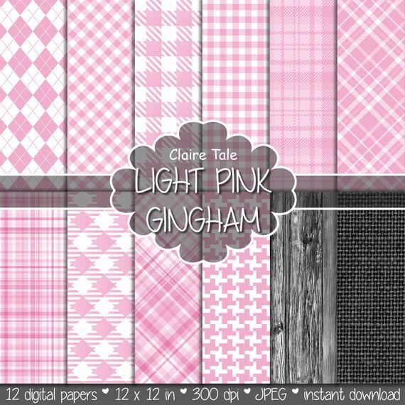 Light pink gingham digital paper, Light pink gingham pattern, Light pink tartan background, Light pink baby shower scrapbooking paper