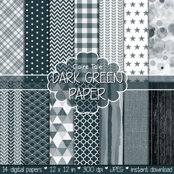 Dark green digital paper, Dark green backgrounds, Dark green printable invitation paper, Dark green wood and linen paper, Dark green pattern