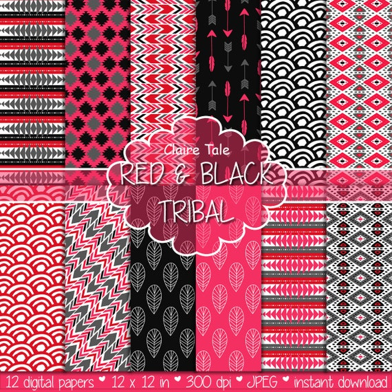 "Tribal digital paper: ""BLACK & RED TRIBAL"" with tribal patterns and tribal backgrounds, arrows, feathers, leaves, chevrons in red and black"