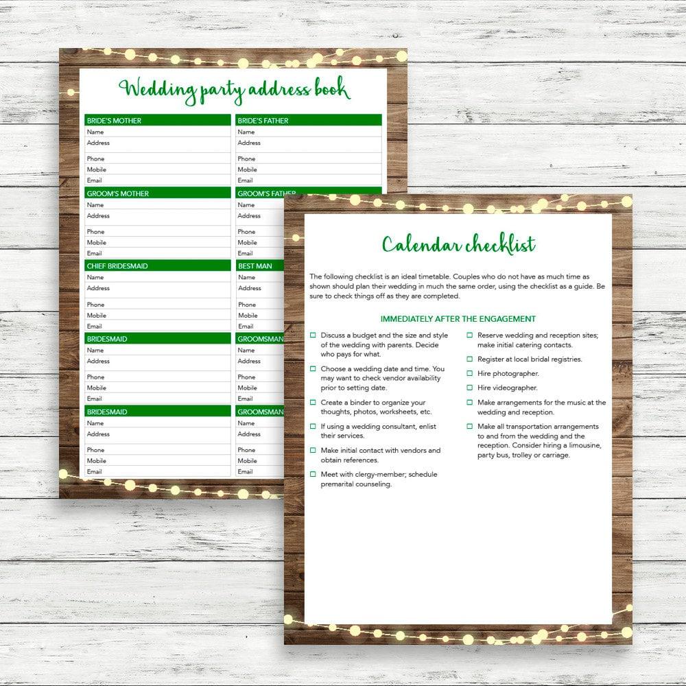 printable wedding planner instant download wedding planner rustic