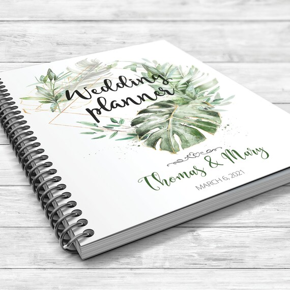 Wedding planner, Tropical wedding planner, Jungle wedding planning book, Palm leaves binder, Bridal shower gift, Personalised planner