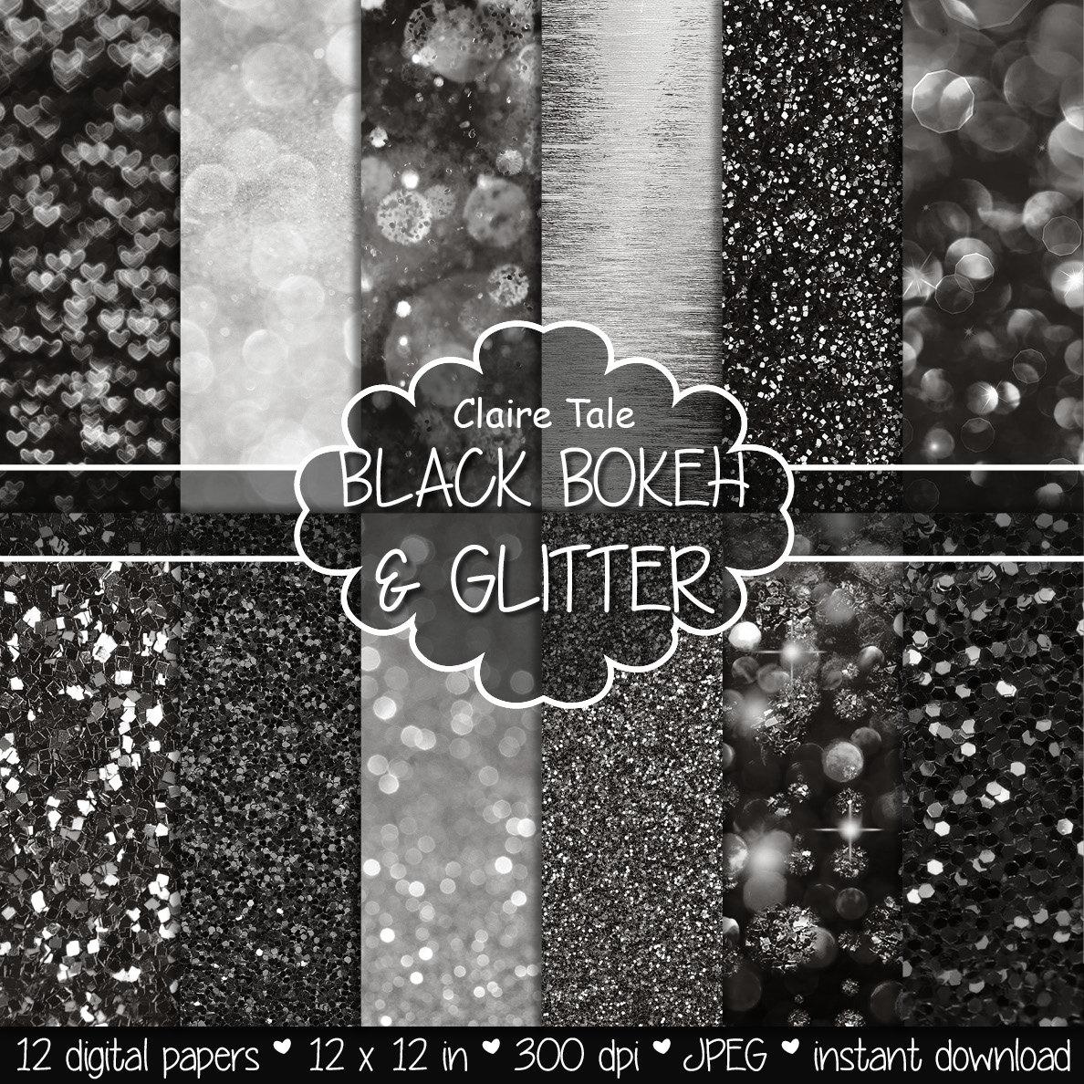Digitalem Papier schwarz: Schwarze BOKEH & GLITTER | Etsy
