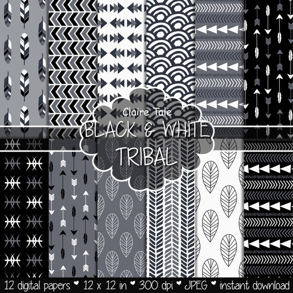 "Tribal digital paper: ""BLACK & WHITE TRIBAL"" with tribal patterns and tribal background, arrows, feather, leaves, chevron in black and white"
