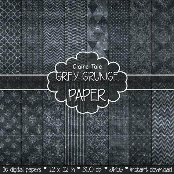 "Grey digital paper: ""GREY GRUNGE PAPER"" with chevrons, crosshatch, stripes, damask, polka dots / grey vintage paper / grey shabby chic"