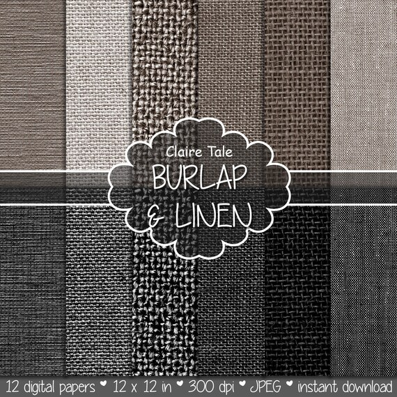 "Burlap and linen digital: ""BURLAP & LINEN PAPER"" with linen, canvas, burlap texture backgrounds in neutral brown beige and black"