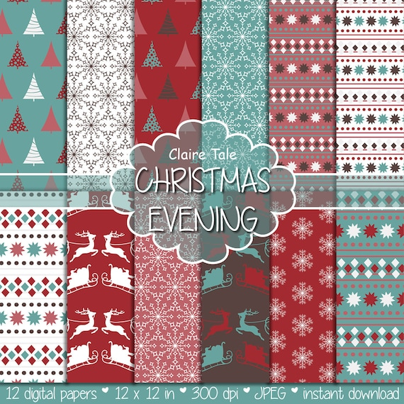"Christmas digital paper: ""CHRISTMAS EVENING"" christmas backgrounds with deers, santa, snowflakes, christmas trees"