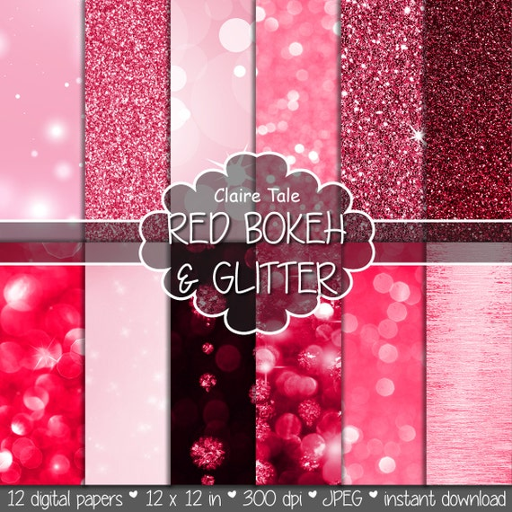 "Red digital paper: ""RED BOKEH & GLITTER"" with red glitter background and red bokeh background for photographers and scrapbooking"