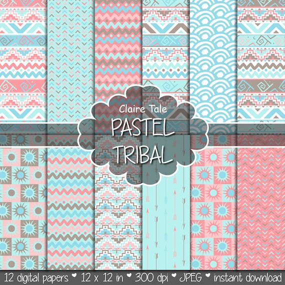 """Tribal digital paper: """"PASTEL TRIBAL"""" with tribal patterns and tribal background, arrows, feathers, chevron in pastel blue, pink, brown"""