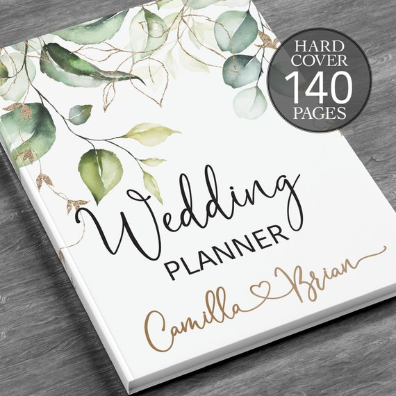 Personalised wedding planner, Bridal shower gift, Engagement gift, Printed wedding book, Wedding book, Greenery wedding planner