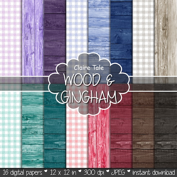 "Gingham and wood paper: ""WOOD & GINGHAM"" gingham paper, wood paper with red, blue, purple, green, brown, black wood background and gingham"