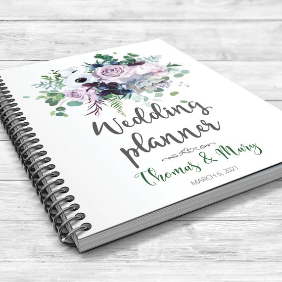 Dusty violet wedding planner, Eucalyptus wedding book, Boho floral planner, Personalised wedding planner, Anemone, succulent, Bridal gift
