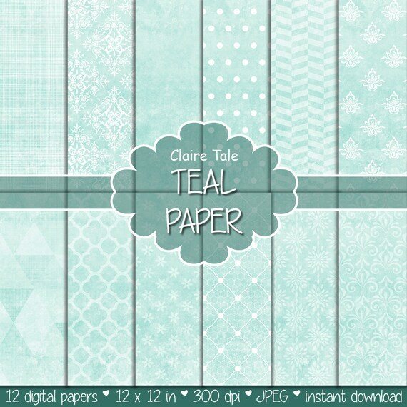 """Teal digital paper: """"TEAL TEXTURES"""" with teal damask, crosshatch, quatrefoil, flowers, lace, polka dots, triangles, stripes patterns"""