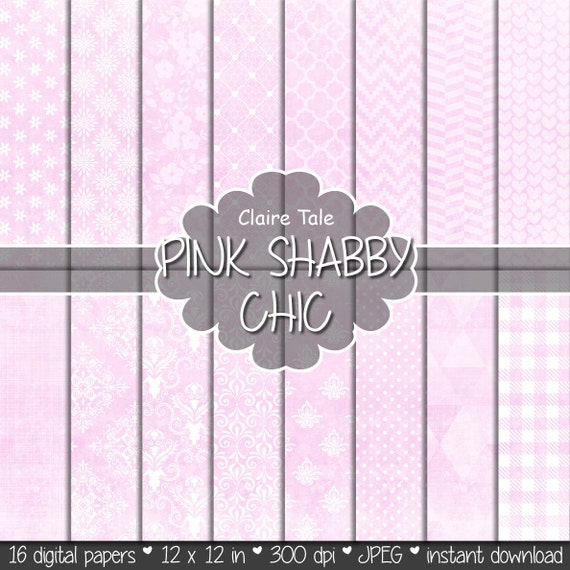 """Pink digital paper: """"PINK SHABBY CHIC"""" with pink damask, crosshatch, quatrefoil, flowers, lace, polka dots, triangles, stripes, hearts"""