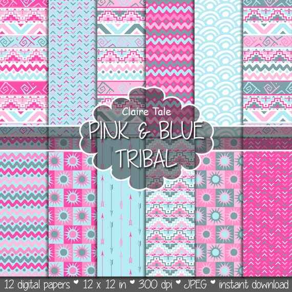 "Tribal digital paper: ""PINK & BLUE TRIBAL"" with tribal patterns and tribal backgrounds, arrows, feathers, leaves, chevrons in blue and pink"