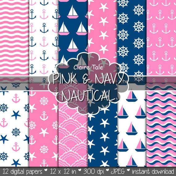 """Nautical digital paper: """"PINK & NAVY NAUTICAL"""" patterns with pink and navy blue anchors, wheels, starfish, boats, sea waves, stripes"""
