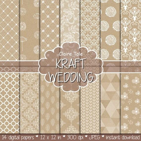 KRAFT WEDDING PAPER background with damask, lace, floral, flowers, hearts, leaves, quatrefoil, dandelions / kraft wedding patterns