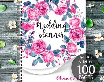 Flower wedding binder, Printable wedding checklist, Wedding organiser, Printable wedding book, Printable to do list, Floral wreath planner