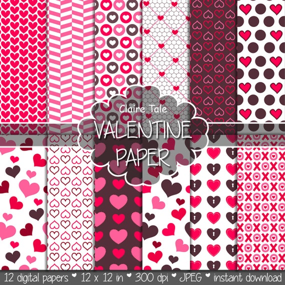 "Valentine's day digital paper: ""VALENTINE'S PAPER"" valentine's day backgrounds with hearts in pink and red / valentine's hearts patterns"