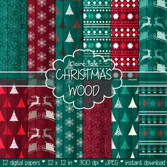 "Christmas paper: ""CHRISTMAS WOOD"" backgrounds with rustic christmas backgrounds, wood grain christmas, grungy x-mas"