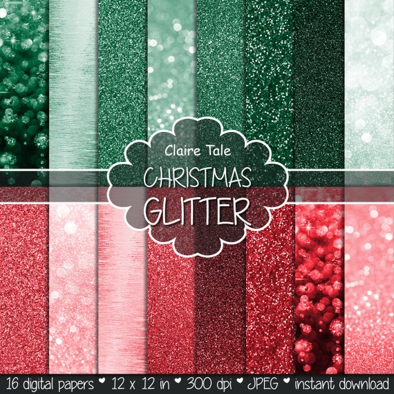 "Christmas bokeh paper: ""CHRISTMAS BOKEH & GLITTER""  photo backdrop / christmas glitter paper / sparkles backgrounds in red and green"