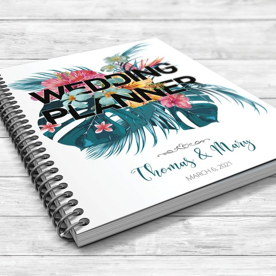 Jungle wedding planner, Tropical wedding planner, Tropical leaves binder, Bridal shower gift, Wedding planner, Summer planner, Palm leaf