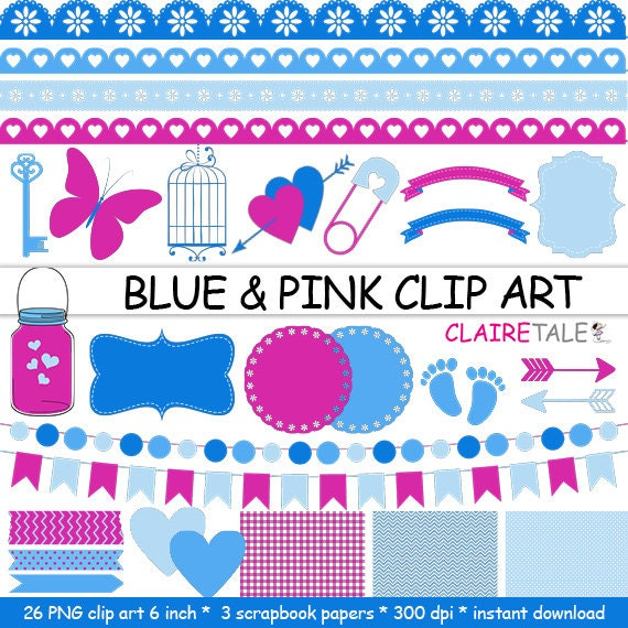 "Digital ""BLUE & PINK CLIPART"" frames, ribbons, borders, flags, arrows, butterfly, lights, hearts, mason jar, key, bird cage, baby shower"