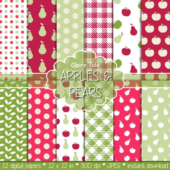 "Apples and pears digital paper: ""APPLES & PEARS"" paper pack with apples and pears pattern, polka dots, gingham and leaves for scrapbooking"