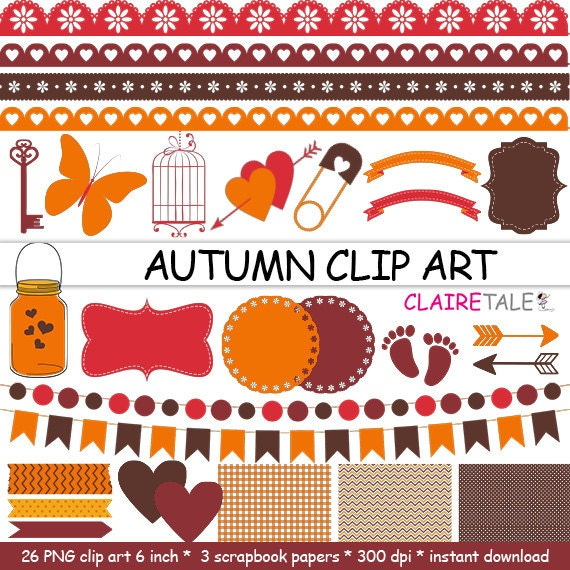 "Digital ""AUTUMN CLIP ART"" frames, labels, ribbons, borders, flags, arrows, butterfly, lights, hearts, mason jar, key, bird cage, baby shower"