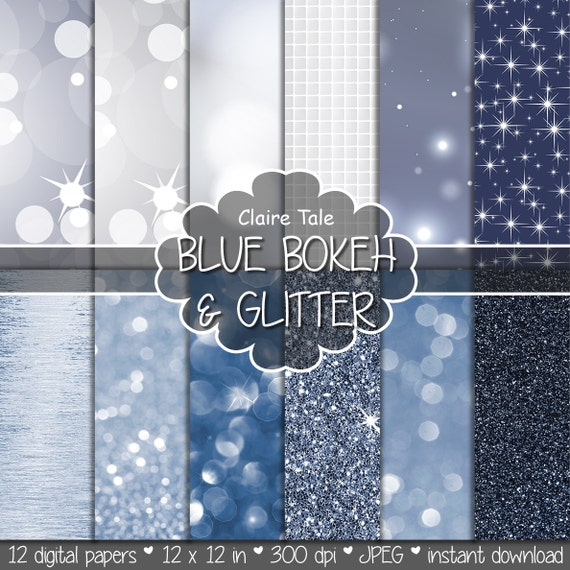"""Blue digital paper: """"BLUE BOKEH & GLITTER"""" with blue glitter background and blue bokeh background for photographers and scrapbooking"""