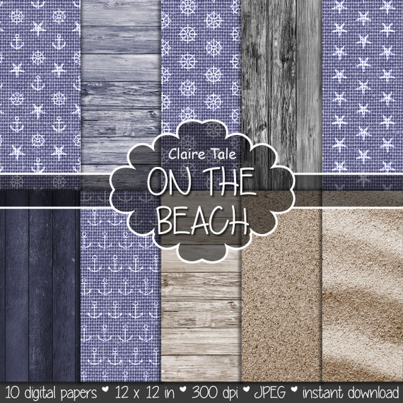 "Nautical linen and wood digital paper: ""ON THE BEACH"" blue and neutral linen, wood and sand backgrounds for photographers and scrapbooking"