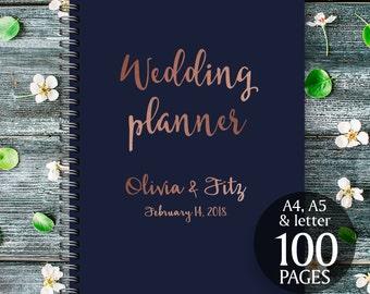 Printable wedding planner, Copper wedding planner, Copper wedding binder, Wedding checklist, Copper wedding organiser, Copper wedding kit