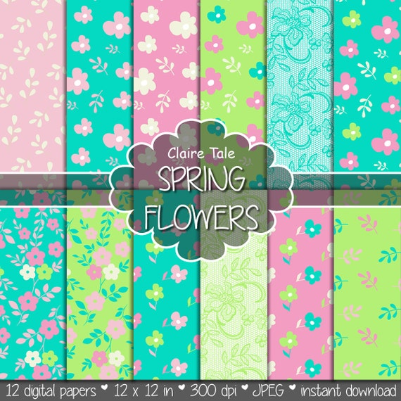 "Floral digital paper: ""SPRING PAPER"" green turquoise pink flower background / spring floral pattern / spring flower background"