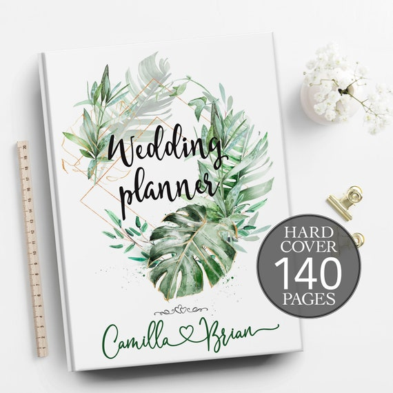 Wedding planner, Tropical wedding planner, Jungle wedding planning book, Engagement gift, Bridal shower gift, Personalised planner